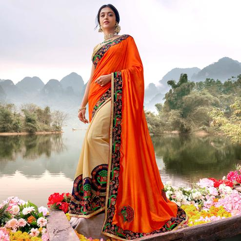 Captivating Orange-Cream Colored Party Wear Embroidered Half & Half Art Silk Saree