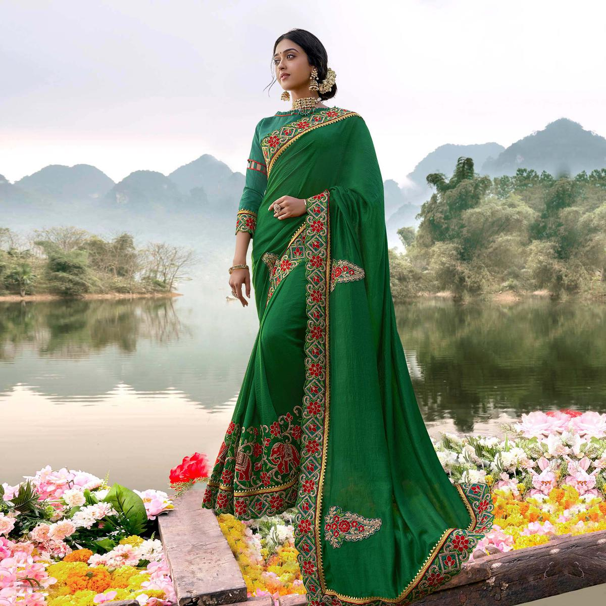 Innovative Green Colored Party Wear Embroidered Art Silk Saree