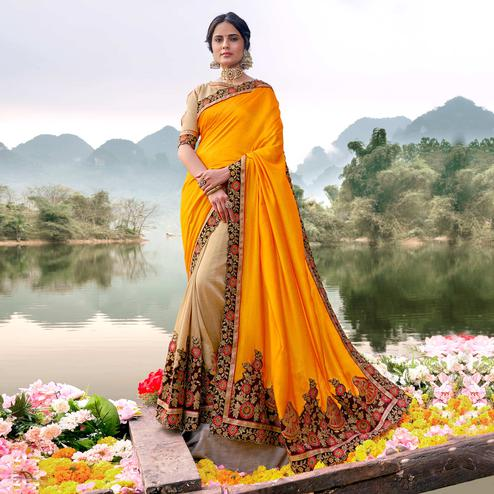 Eye-catching Yellow-Beige Colored Party Wear Embroidered Half & Half Art Silk Saree