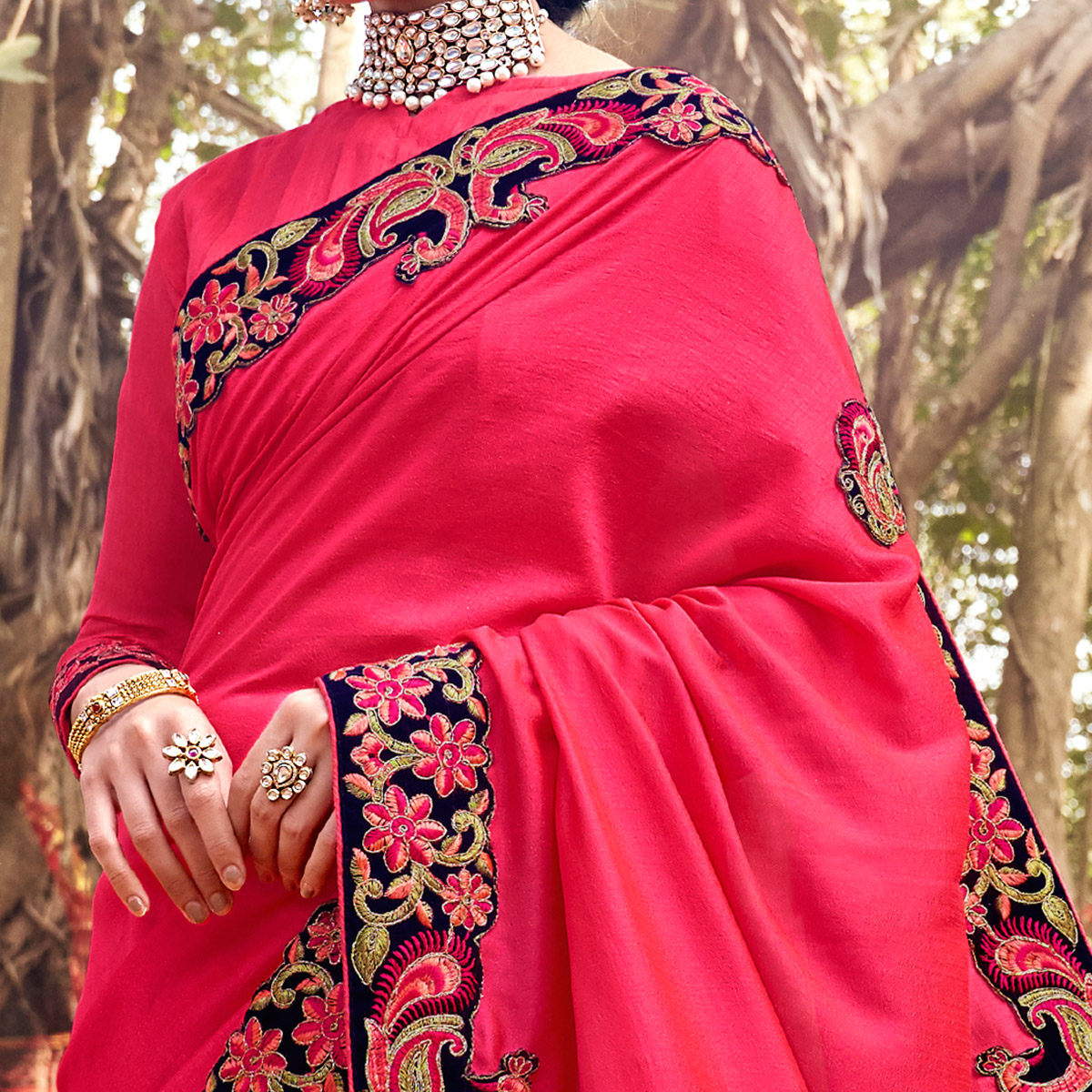 Fantastic Pink Colored Party Wear Embroidered Art Silk Saree