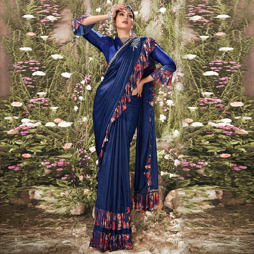 Glorious Navy Blue Colored Party Wear Ruffle Lycra Saree