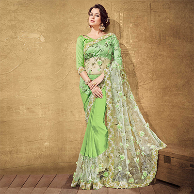 Light Green Fancy Net Embroidered Work Saree