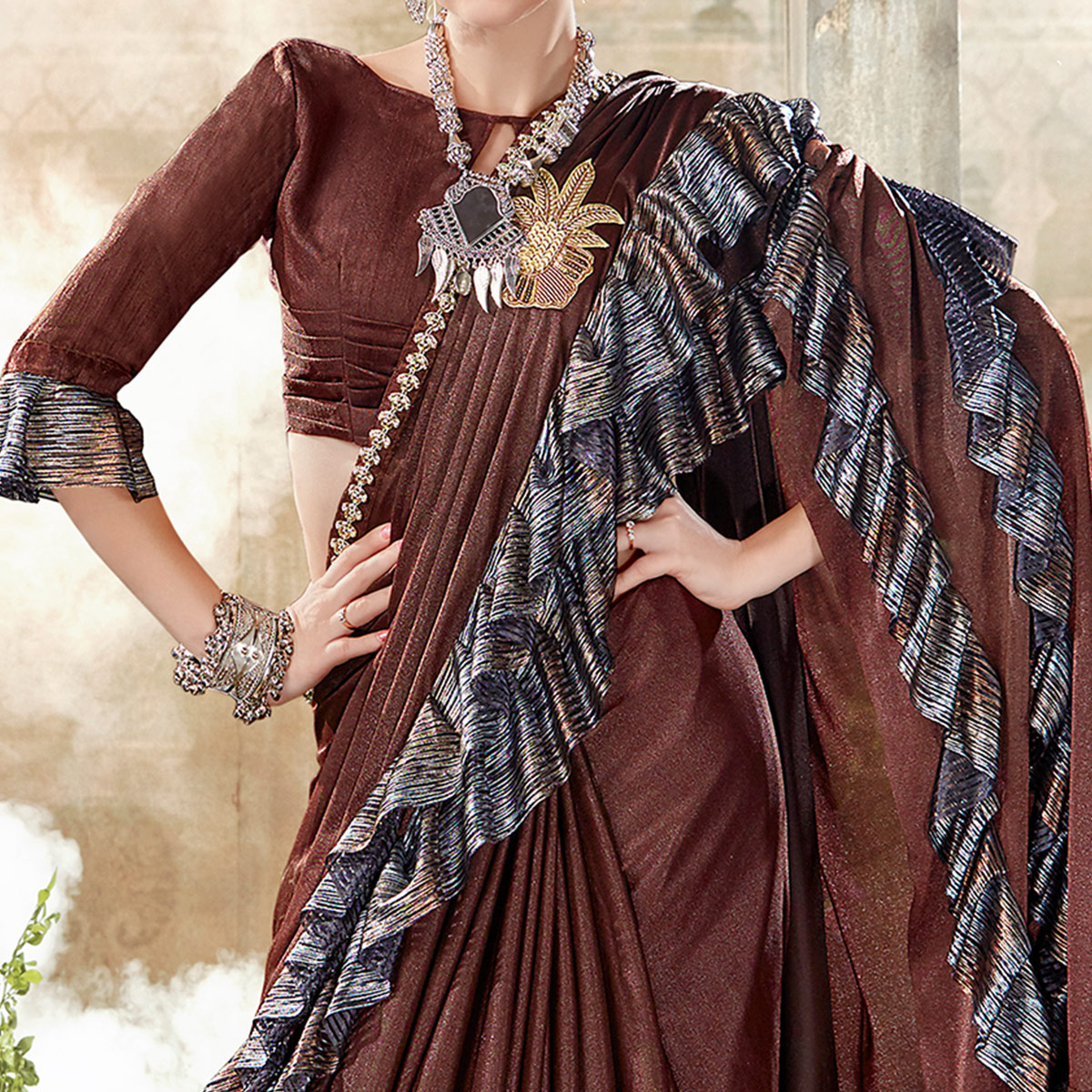 Attractive Dark Brown Colored Party Wear Ruffle Lycra Saree