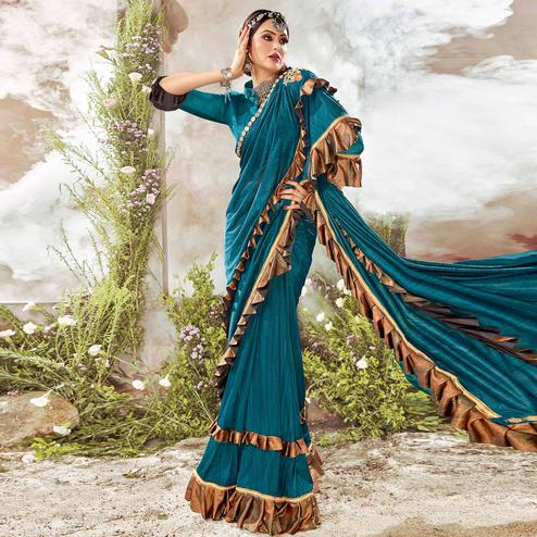 Beautiful Teal Blue Colored Party Wear Ruffle Lycra Saree