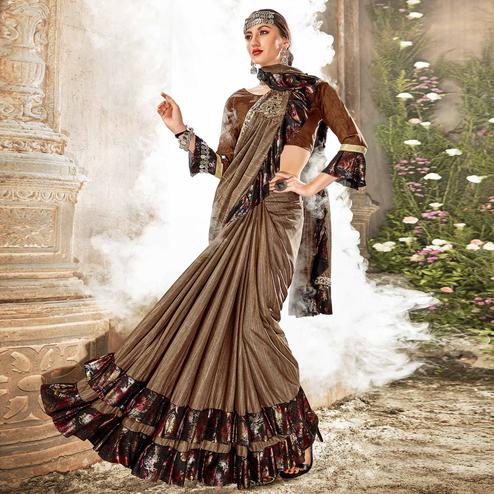Graceful Brown Colored Party Wear Ruffle Lycra Saree