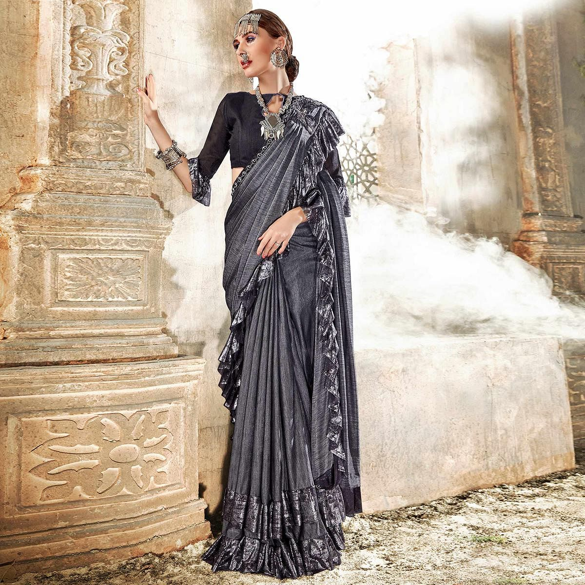 Blooming Grey Colored Party Wear Ruffle Lycra Saree