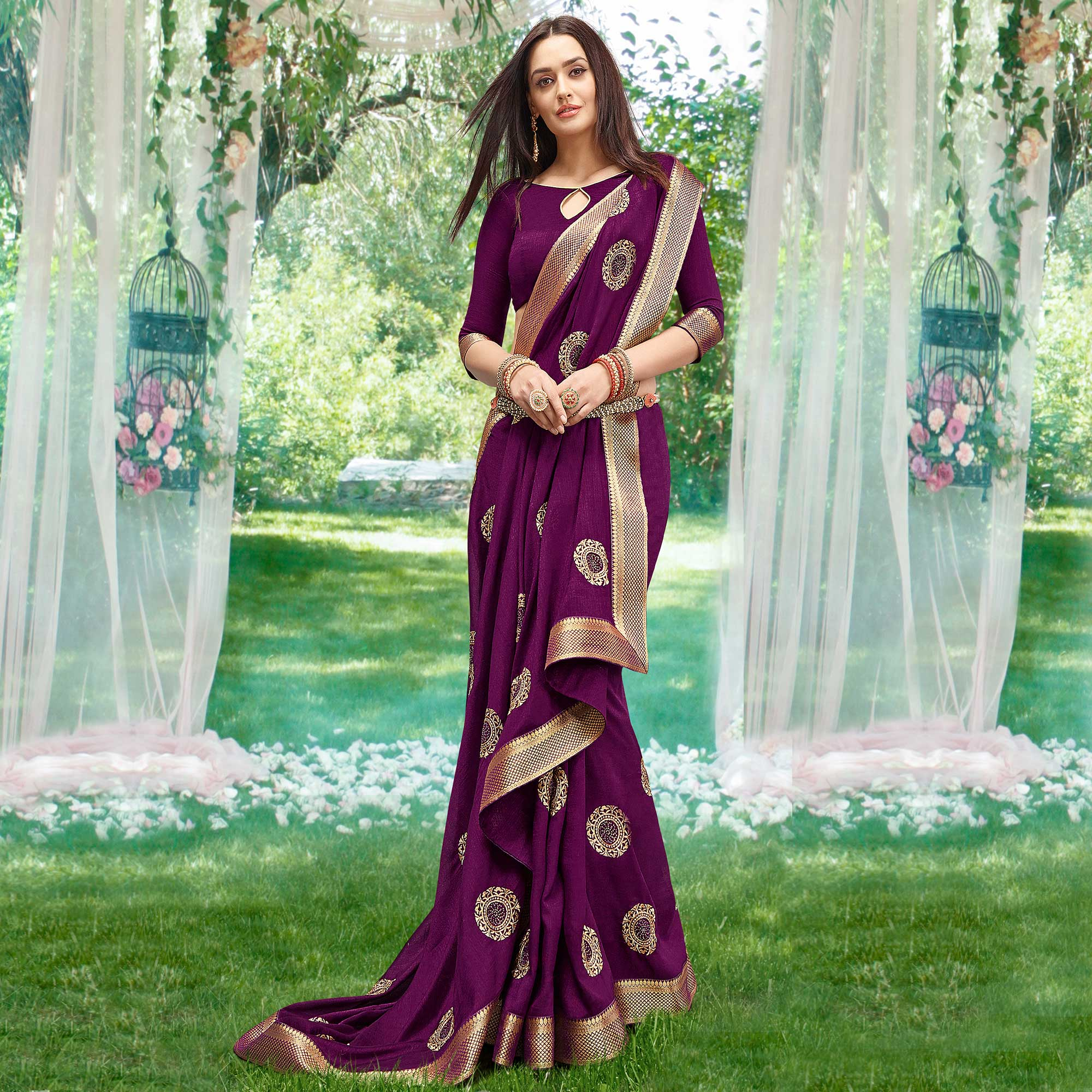 Pretty Dark Purple Colored Party Wear Embroidered Art Silk Saree