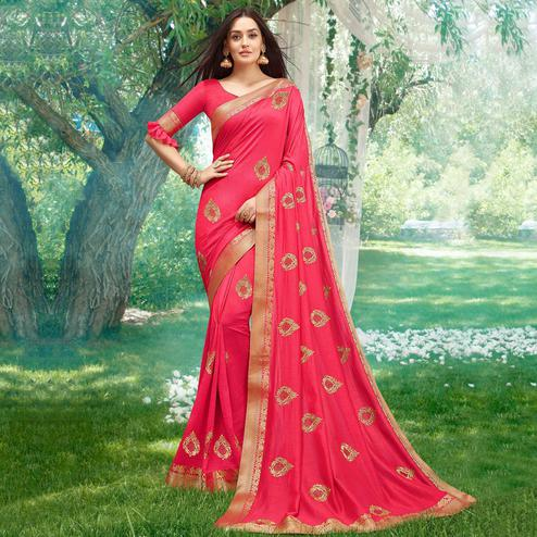 Alluring Pink Colored Party Wear Embroidered Art Silk Saree
