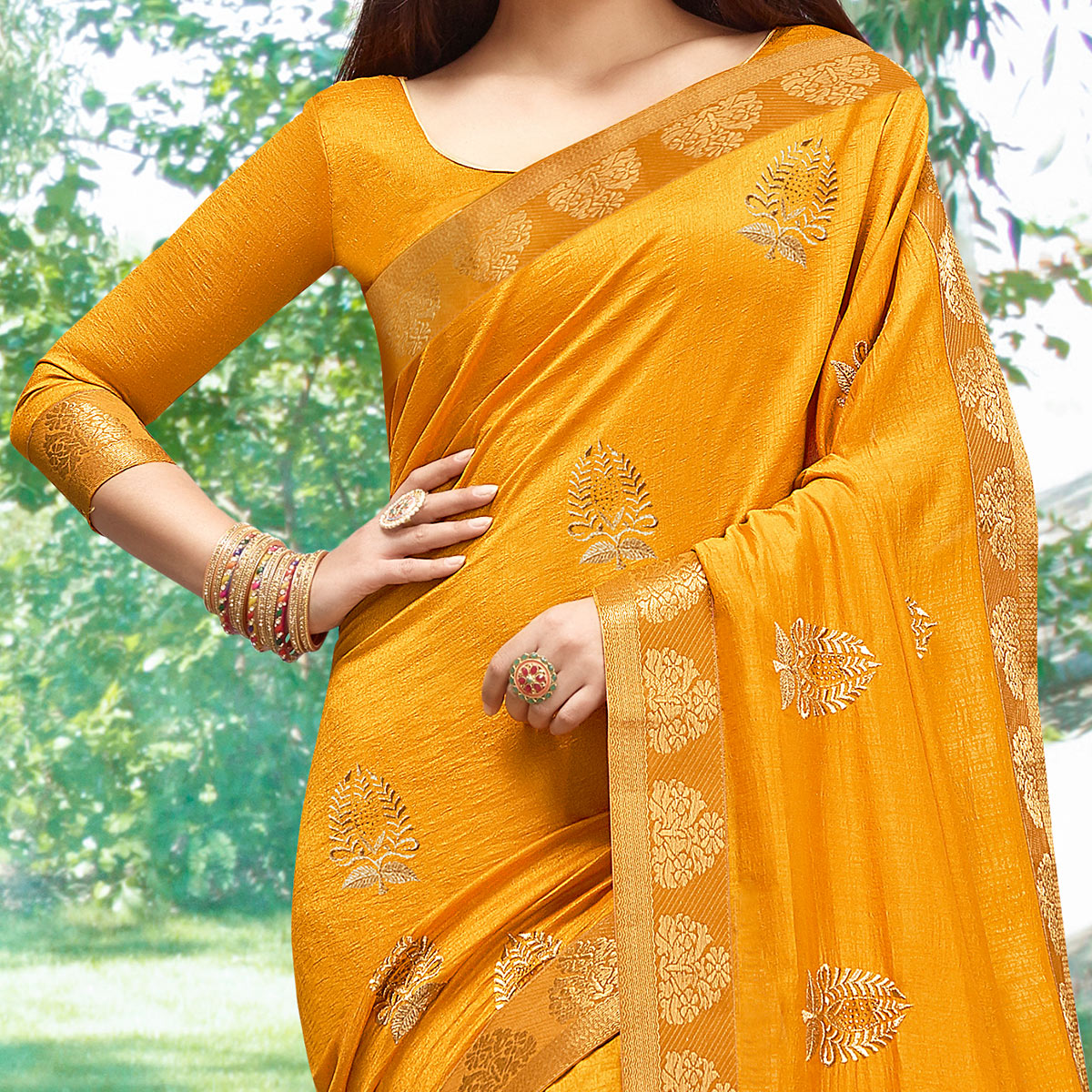Sensational Mustard Yellow Colored Party Wear Embroidered Art Silk Saree