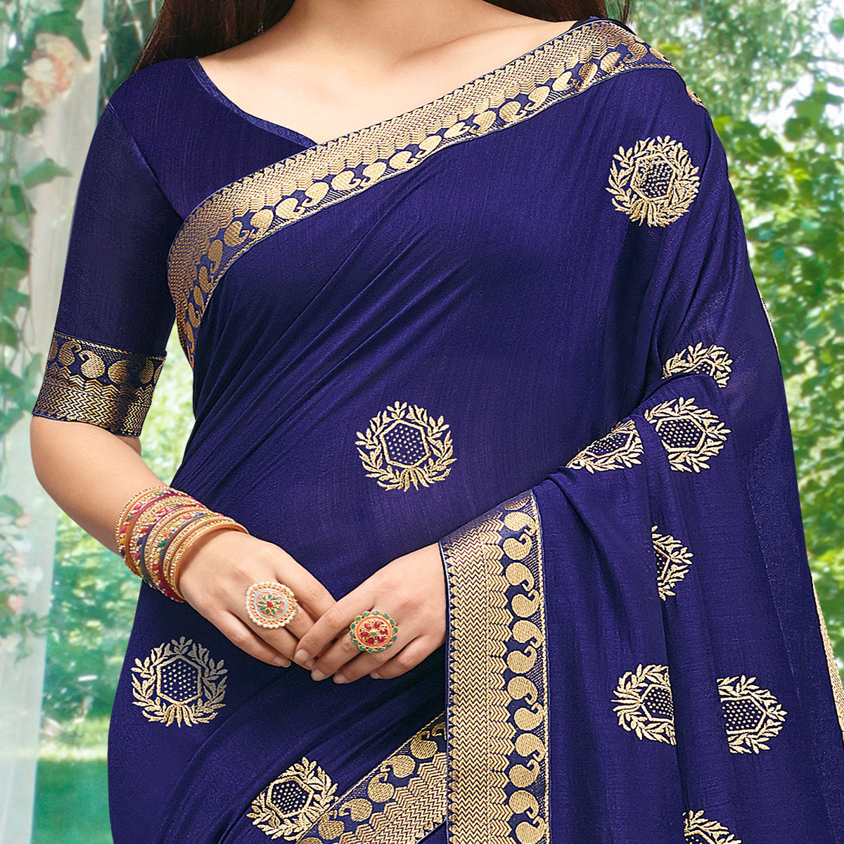 Flaunt Navy Blue Colored Party Wear Embroidered Art Silk Saree