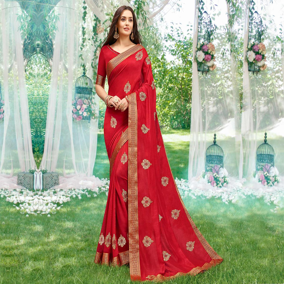 Stunning Red Colored Party Wear Embroidered Art Silk Saree