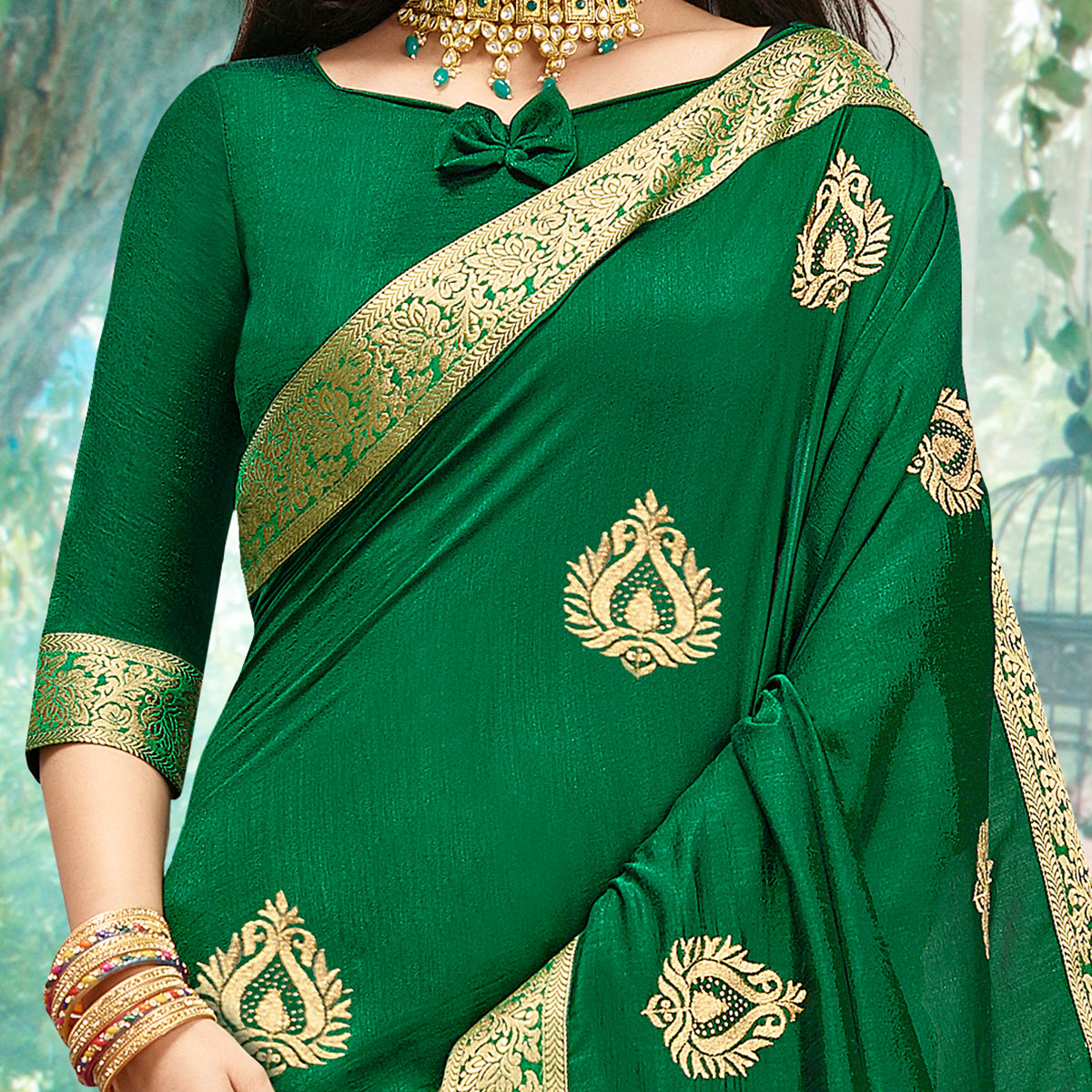 Amazing Green Colored Party Wear Embroidered Art Silk Saree