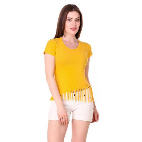 Exceptional Yellow Colored Casual Wear Solid Cotton Top