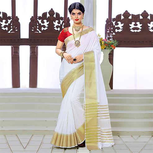 White Weaving Work Silk Saree with Red Embroidered Blouse