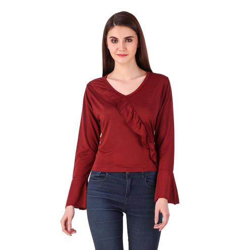 Magnetic Maroon Colored Casual Wear Solid Satin Top