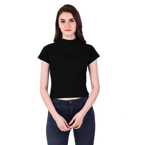 Flamboyant Black Colored Casual Wear Solid Cotton Top
