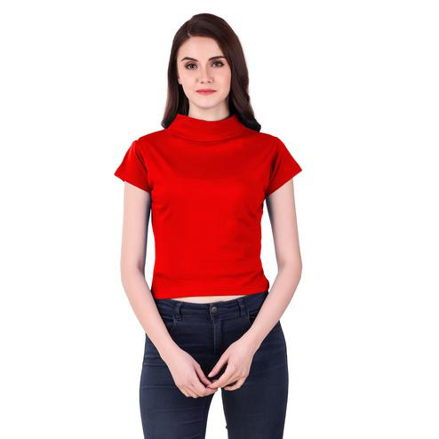 Pretty Red Colored Casual Wear Solid Cotton Top