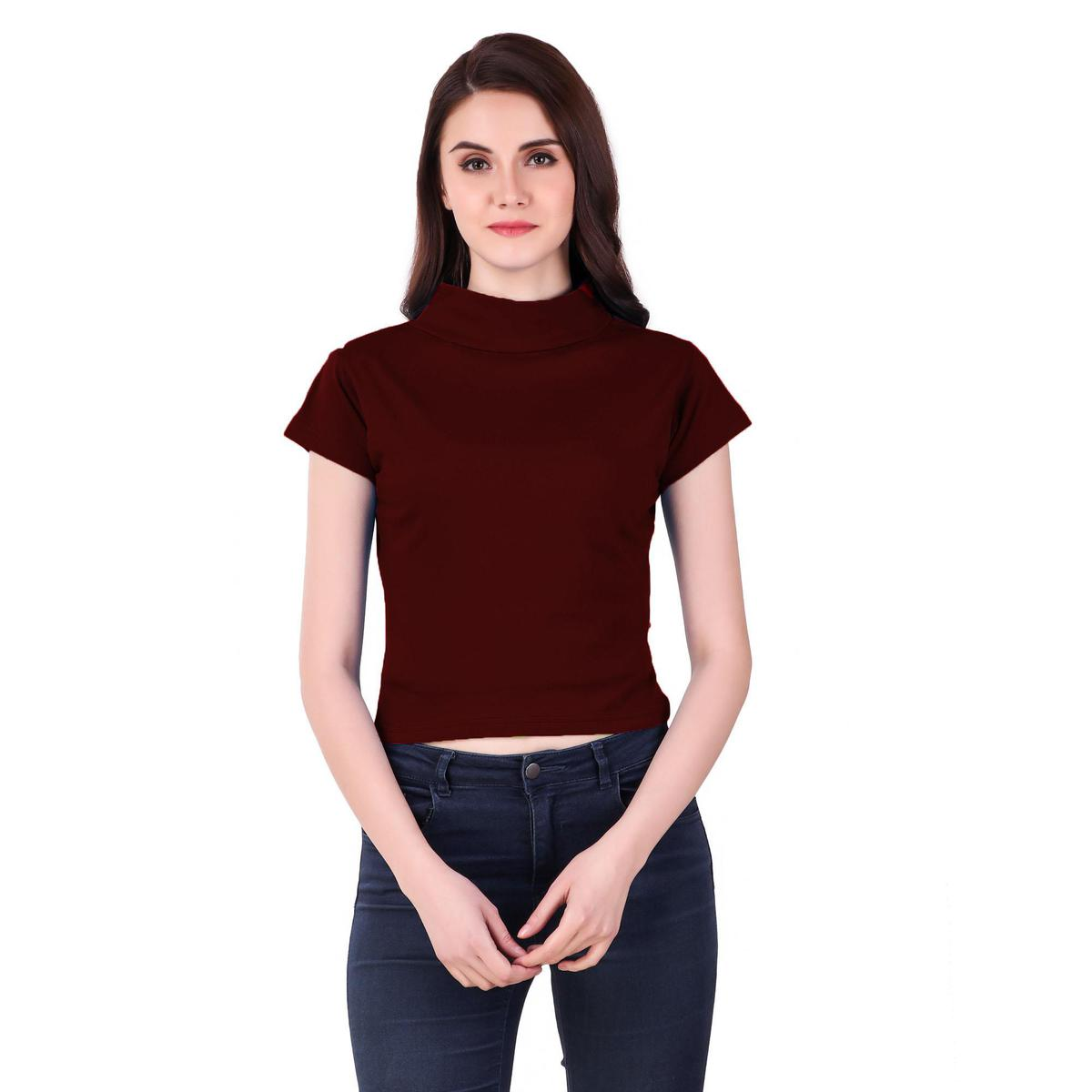 Alluring Maroon Colored Casual Wear Solid Cotton Top