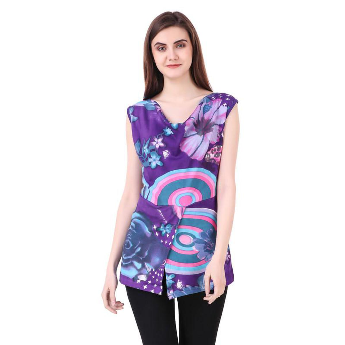 Flaunt Purple Colored Casual Wear Printed Cotton Top
