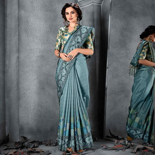 Sareemall  Blue Festive Manipuri Silk Chex Saree With Unstitched Blouse