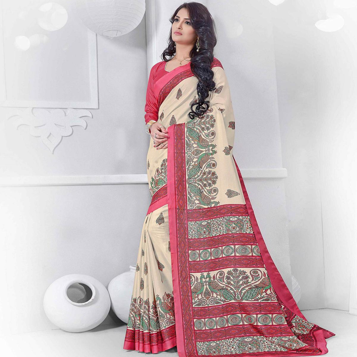 Off White - Pink Casual Wear Saree