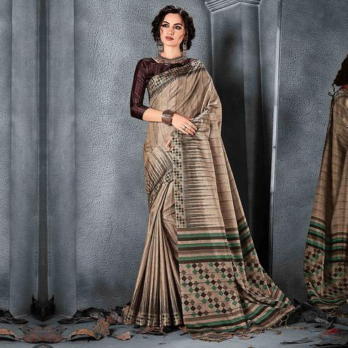 Sareemall Brown Festive Manipuri Silk Stripes Saree With Unstitched Blouse