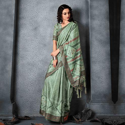 Sareemall Green Festive Manipuri Silk Geometric Saree With Unstitched Blouse