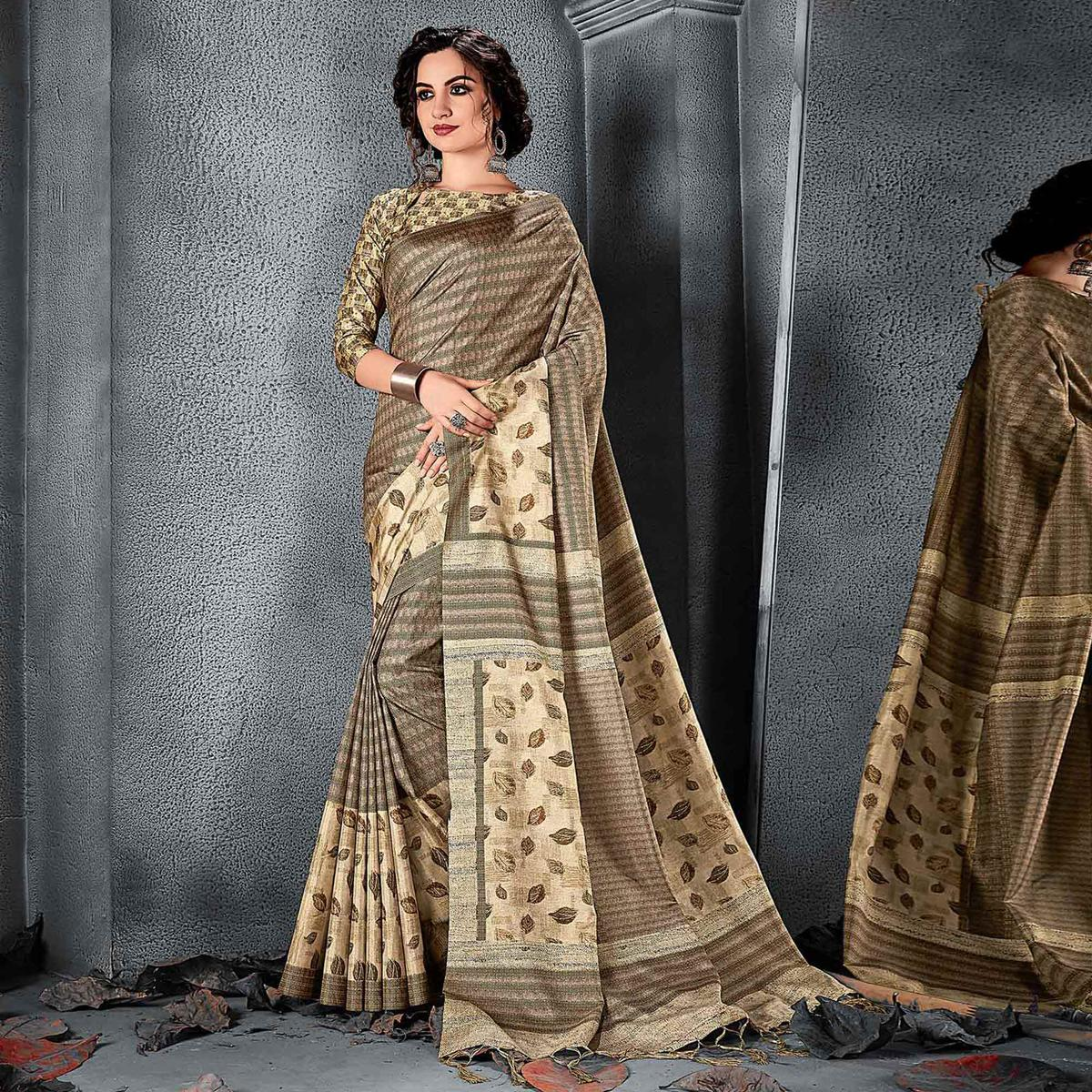 Sareemall Beige Festive Manipuri Silk Floral Saree With Unstitched Blouse
