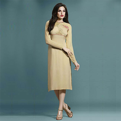 Cream Embroidered Work Kurti with High Neckline