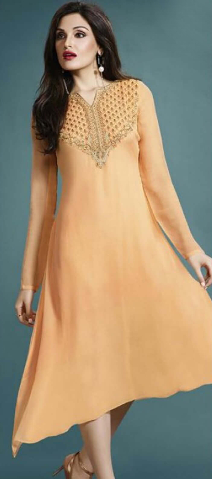 Orange Embroidered Work Georgette Kurti