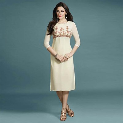Off White Straight Cut Embroidered Kurti