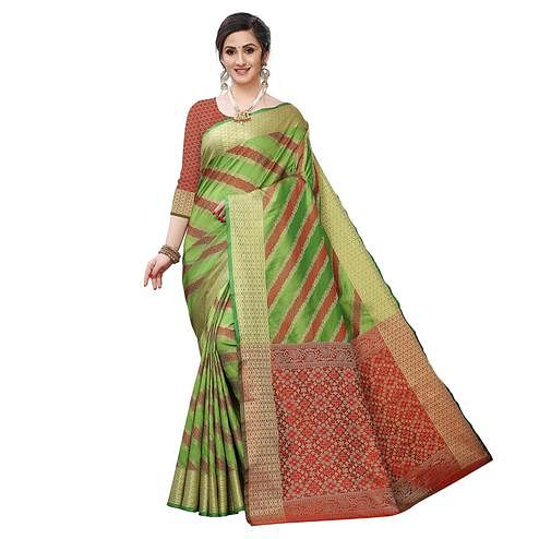 Desirable Green Colored Festive Wear Woven Kanjivaram Silk Saree