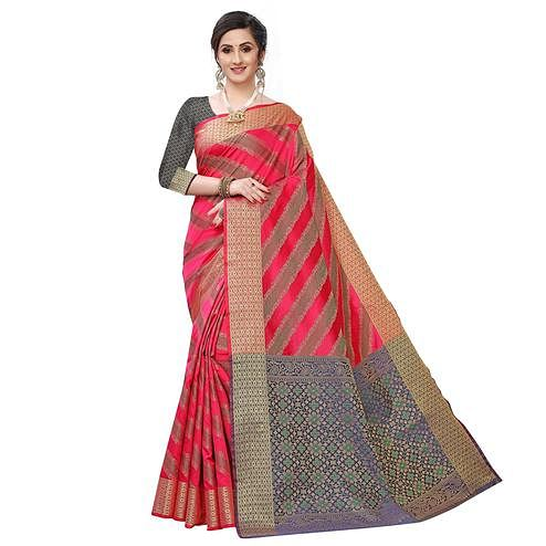 Exotic Pink Colored Festive Wear Woven Kanjivaram Silk Saree