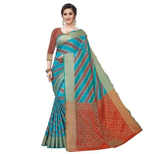 Trendy Rama Blue Colored Festive Wear Woven Kanjivaram Silk Saree