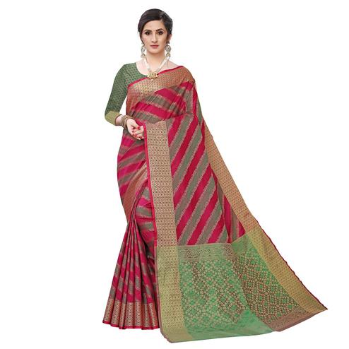 Radiant Wine Colored Festive Wear Woven Kanjivaram Silk Saree