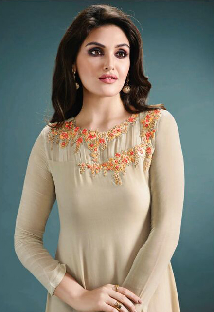 Light Grey Embroidered C Cut Kurti