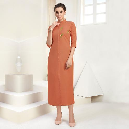 Adorable Rust Orange Colored Casual Wear Embroidered Cotton Kurti