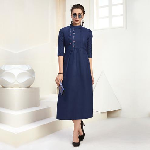 Glorious Navy Blue Colored Casual Wear Embroidered Cotton Kurti