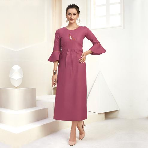 Attractive Mauve Colored Casual Wear Embroidered Cotton Kurti