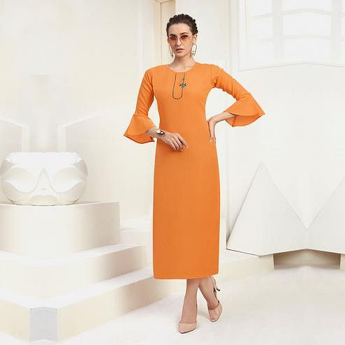 Beautiful Orange Colored Casual Wear Embroidered Cotton Kurti