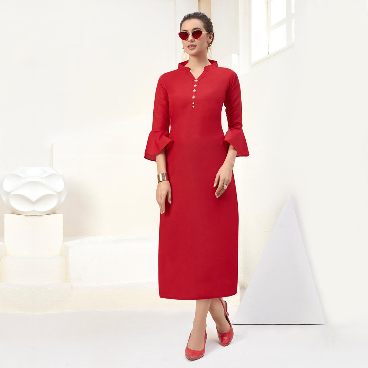 Delightful Red Colored Casual Wear Embroidered Cotton Kurti