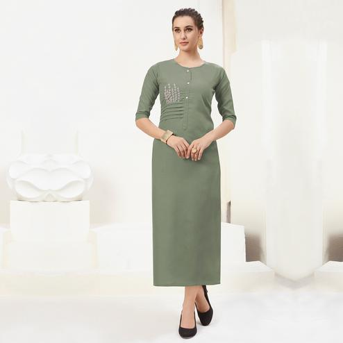 Captivating Olive Green Colored Casual Wear Embroidered Cotton Kurti