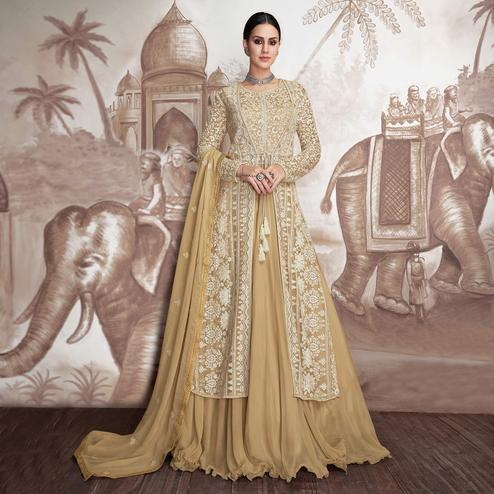Desirable Beige Colored Party Wear Embroidered Georgette-Net Jacket StyleAnarkali Suit