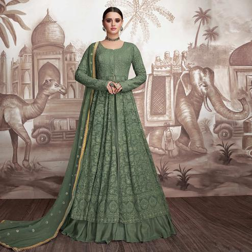 Exotic Green Colored Party Wear Embroidered Georgette-Net Anarkali Suit