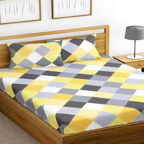 Adorable Multi Colored Printed Cotton Double Bedsheet with 2 Pillow Cover