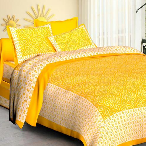 Blooming Yellow Colored Printed Cotton Double Bedsheet with 2 Pillow Cover