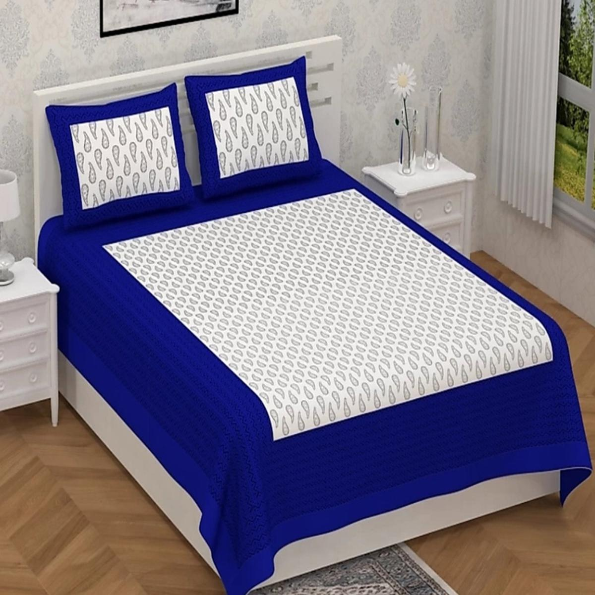 Trendy Blue-White Colored Printed Cotton Double Bedsheet with 2 Pillow Cover