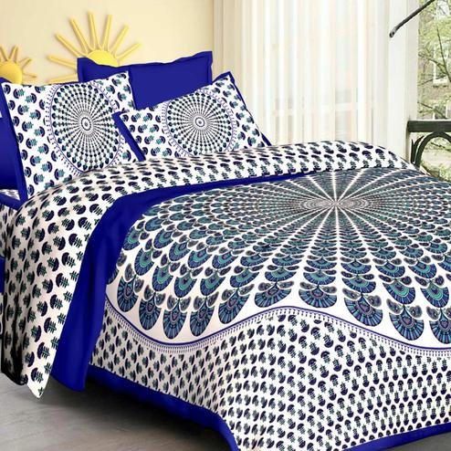 Elegant Blue-White Colored Printed Cotton Double Bedsheet with 2 Pillow Cover
