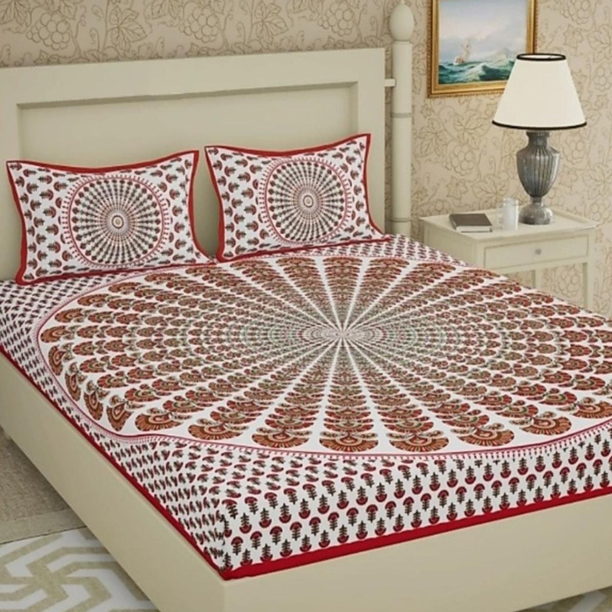 Radiant Red Colored Printed Cotton Double Bedsheet with 2 Pillow Cover
