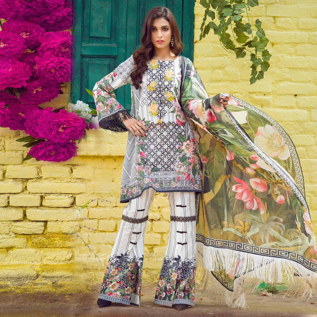 White Print & Embroidered Work Cotton Suit
